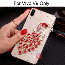Crystal Pink Diamonds Love Peacock Transparent Soft Back Cover for Vivo V9 - Red